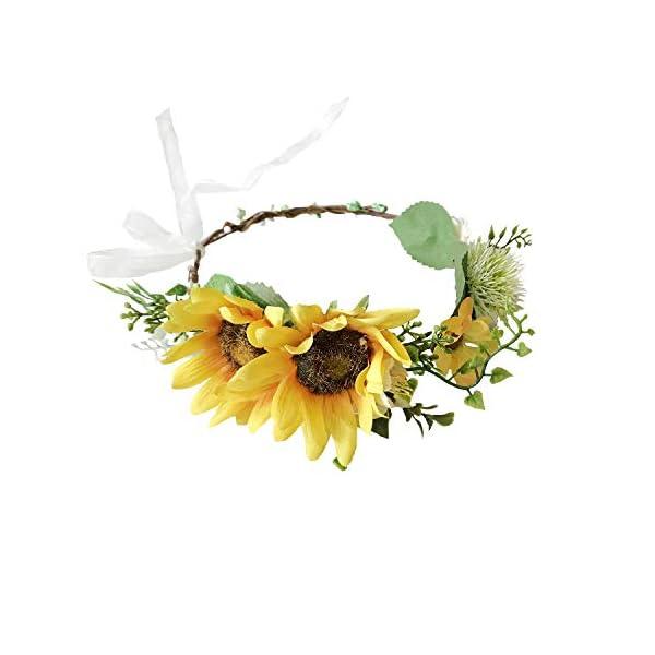KUKUMONGA Artificial Sunflower Headband,Adjustable Flower Wreath Headband (Headband Pack of 1)