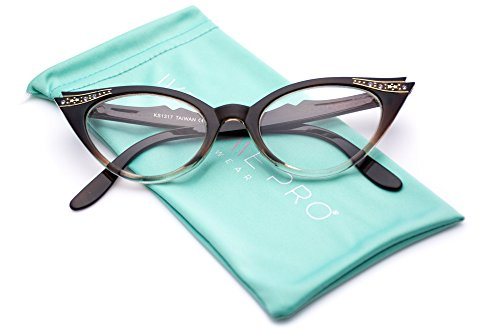 Vintage Cateyes 80s Inspired Fashion Clear Lens Cat Eye Glasses with ()