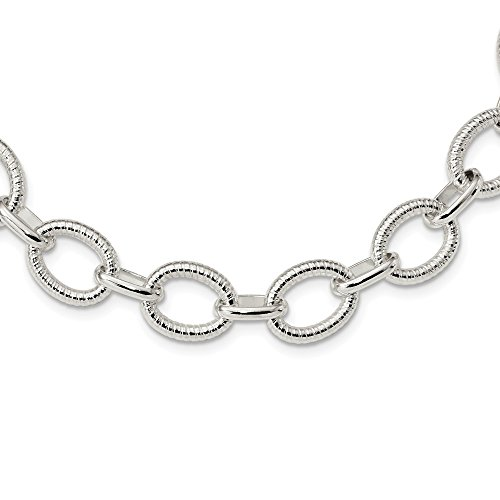 Mia Diamonds 925 Sterling Silver Solid Polished Fancy Link Necklace -18