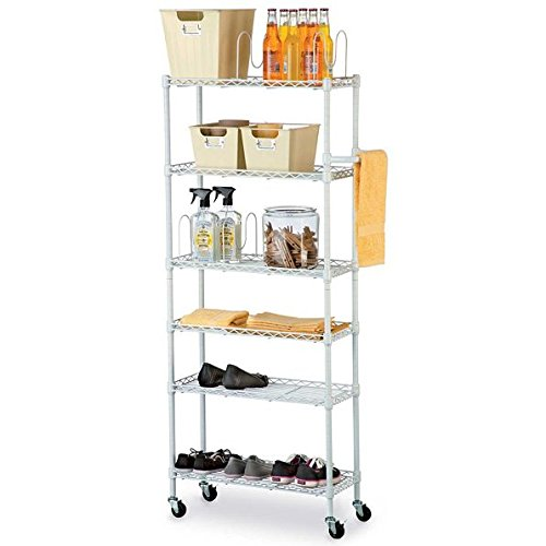 6 Shelf Mobile Rolling Kitchen Pantry Storage Cart Utility Organization Adjustable White