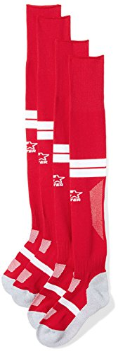 Starter Unisex Adult and Youth Soccer Socks, Amazon Exclusive, Team Red with White Stripe, XS (Youth Shoe Size 4-8.5)
