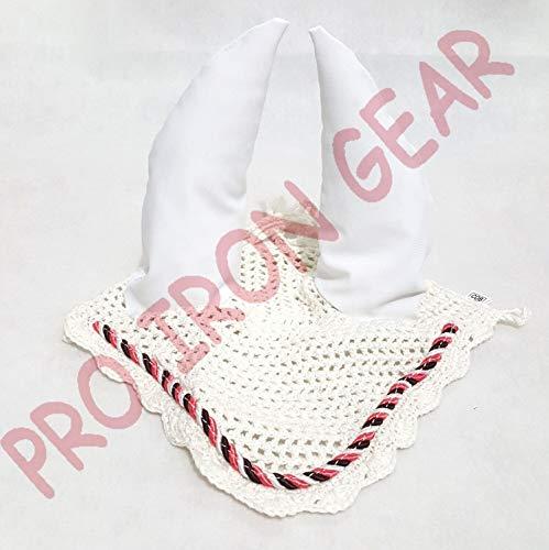 PRO IRON GEAR Horse Ear Bonnet/Net/Hat/Hood/Mask Fly Veil Full/Cob (White, Full)