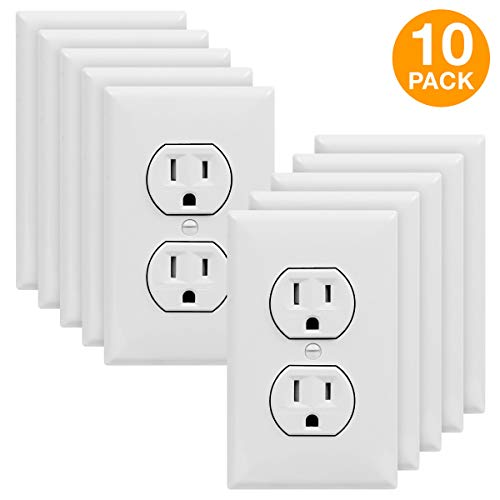 ENERLITES Duplex Receptacle Outlet with Wall Plate, Tamper-Resistant, Residential Grade, 3-Wire, Self-Grounding, 2-Pole, 15A 125V, UL Listed, 61580-TR-W-10PCS, White (10 Pack) ()