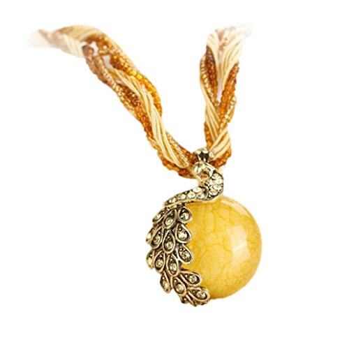 (Bohemian Peacock Gem Pendant Healing Chakra Birthstone Necklace Tribal Dangle Collar Statement Jewelry for Womens (Yellow, Alloy))