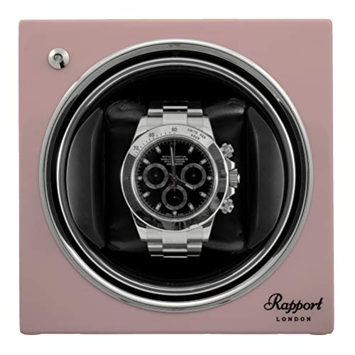 - Single Watch Winder - RAPPORT London Evo Cube Watch Winder - Sophisticated Modern Watch with Quiet Motor - Pink Rose
