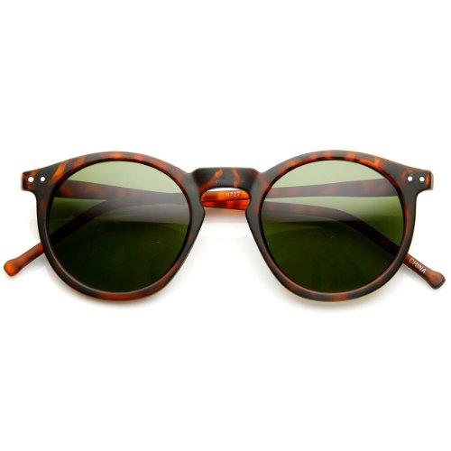 zeroUV - Retro Horned Rim P3 Keyhole Round Horn Rimmed Sunglasses (Matte-Tortoise - Sunglasses Keyhole