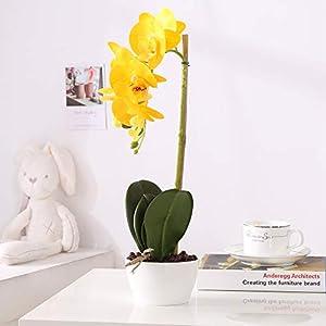BBHooming Phaleanopsis Arrangement with Vase Decorative Artificial Orchid Flower Bonsai 98