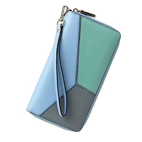 Women RFID Blocking Wallet Wristlet Leather Large Ladies Purse Zip Around Clutch -