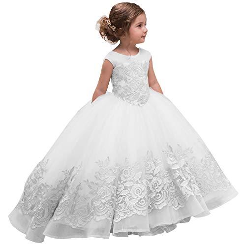 Elegant Flower Girl Dress for Wedding Kids Sleevelesss Lace Pageant Ball Gowns (8, White) ()