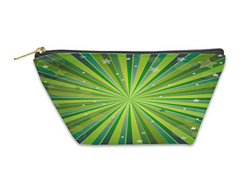 Gear New Accessory Zipper Pouch, Abstract Green And Yellow With Rays, Small, - 8 Rays Apparel