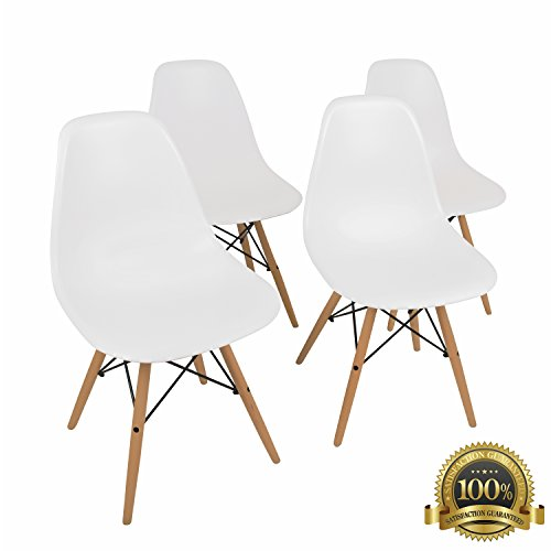Modern Easy Chair (Eames Style Modern Dining Armless Side Chairs (Set of 4) | Molded White ABS Plastic With Wood & Black Accents Iconic American Mid-Century Styling by)
