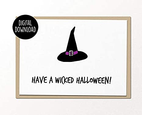 image about Printable Halloween Cards referred to as : incorporate a wicked halloween printable card amusing