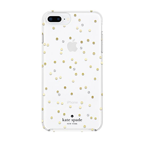Kate Spade New York Cell Phone Case for iPhone 8 Plus/7 Plus/6 Plus/6s Plus - Multi Scatter Dot Gold with Gems by Kate Spade New York