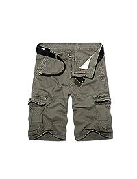 Bmeigo Mens Casual Pocket Loose Straight Cargo Shorts (NO BELT) -E03