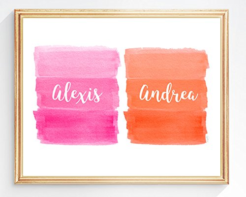 Pink and Orange Girls Room Decor, Personalized Names, 8x10, UNFRAMED by Outside In Art Studio