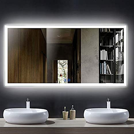 Amazon Com Dp Home Large Horizontal Rectangle Mirror Led Illuminated Backlit Wall Mount Bathroom Vanity Mirrors Hotel Office Bar Mirror 55 X 28 Inch E N031 D Kitchen Dining