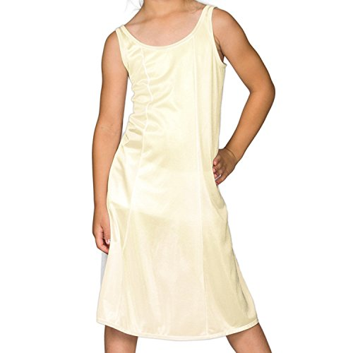 I.C. Collections Big Girls White Sleek Nylon Slip - Tea Length, 8]()
