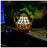 YYF European Retro teapot Table lamp - Stained Glass Animal Night Light