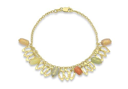 """Jewellery World Bague en or jaune 9carats Perle Sherbet elliptique Bracelet 19cm/7,5"""""""