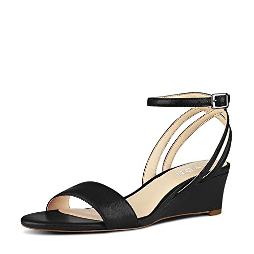 Toe Ankle Strap Wedge - YDN Women Open Toe Low Heel Wedge Sandals Ankle Straps Slingback Summer Shoes Black 8