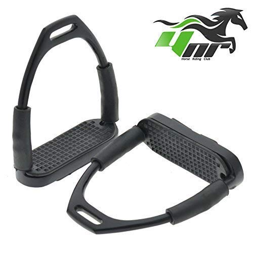 YNR  Flexible Safety Stirrups Horse Riding Bendy Irons S. Steel Black 4.75