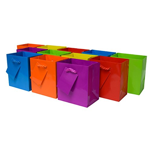 Extra Small 4 x 2.75 x 4.5 x 2.75 Premium Quality Paper Gift Bags with Handles, Party Favor Bags for Birthday Parties, Weddings, Holidays and All Occasions (12 Gift Bags) ()