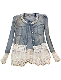 Womens Deni Coat Lace Jacket with Fake Pearl Decoration