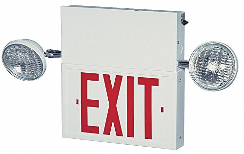 1 Face LED Exit Sign with Emergency Lights, White Steel Housing, Green Letter Color