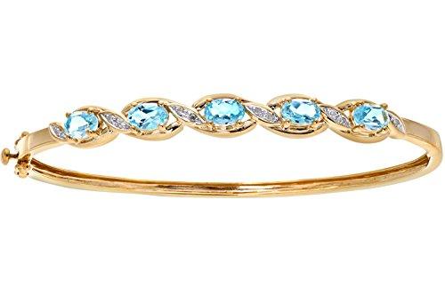 Naava - Bracelet - Femme - Or jaune (9 carats) 9 Gr - Diamant Saphir - Topaze 3.35 Cts