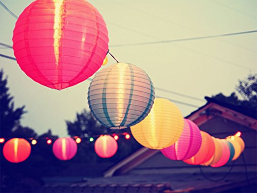 Paxcoo 12 Pack Paper Lanterns with Assorted Colors and Sizes by PAXCOO (Image #4)