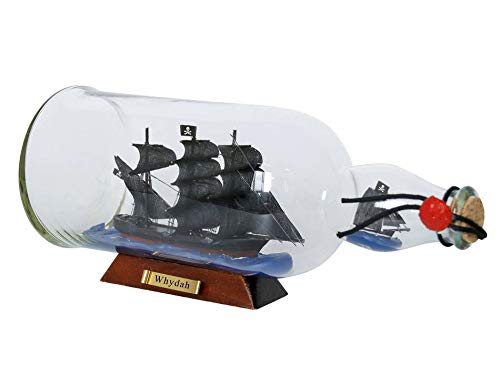Hampton Nautical Whydah Gally Model Ship in a Glass Bottle 11'' - Pirate Room Decor - Wooden Boat