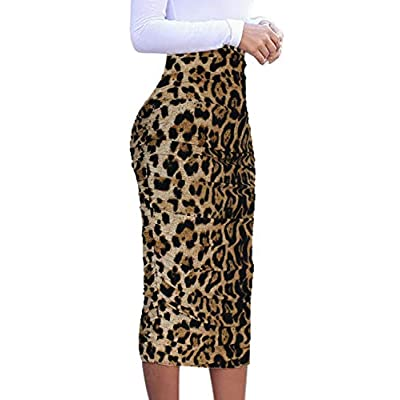 VFSHOW Womens Elegant Ruched Ruffle High Waist Pencil Midi Mid-Calf Skirt at  Women's Clothing store