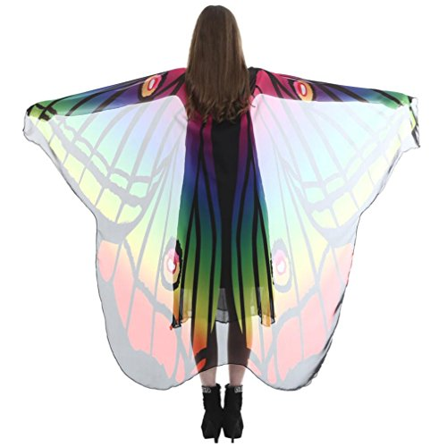 Creazy Women Lady Long Butterfly Wing Cape Soft Scarf Scarves Wrap Shawl Nymph Costume (Nymph Costume Makeup)