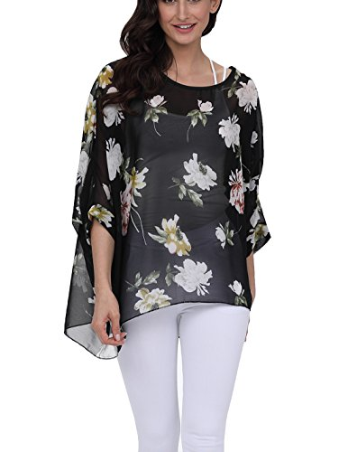 DearQ Women Chiffon Blouse Floral Batwing Sleeve Beach Loose Tunic Shirt Tops 4303 ()