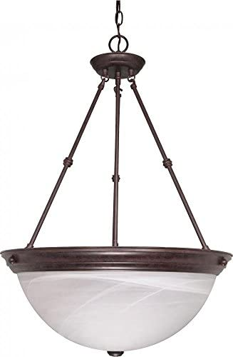 Nuvo Lighting 60 212 Three Light Pendant, Old Bronze Alabaster Glass