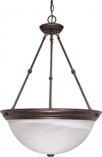 Nuvo Lighting 60/212 Three Light Pendant, Old Bronze/Alabaster Glass