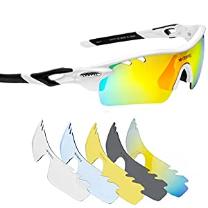 CROPAL Sports Sunglasses, Polarized Baseball Sunglasses for Cycling, Running, Driving-White/Black