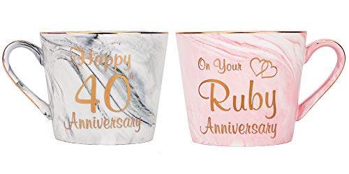 Happy Homewares Beautifully Designed 40th Anniversary Grey and Pink Marble 12oz Ceramic Mugs with Golden Metal Trim Perfect Wedding Idea