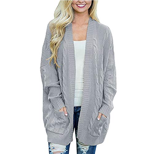Clearance Sale! Pervobs Womens Knitted Cardigan Loose Solid Open Front Long Sleeve Pocket Sweater Coat Tops Blouse(M, Gray)