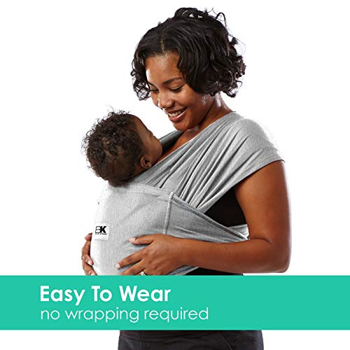 Baby K'tan Original Baby Wrap Carrier, Infant and Child Sling - Simple Pre-Wrapped Holder for Babywearing - No Tying or Rings - Carry Newborn up to 35 lbs, Heather Grey,Women 16-20 (Large), Men 43-46