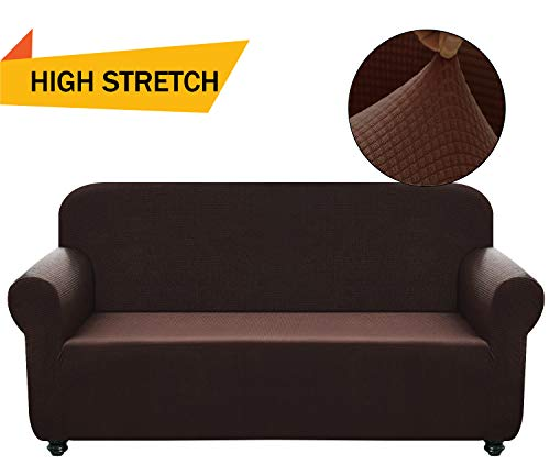 Covers 1-Piece Polyester Spandex Fabric Living Room Couch Slipcovers (XL Sofa, Dark Brown) ()