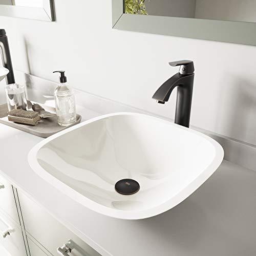 VIGO Square Shaped White Phoenix Stone Vessel Sink and Linus Vessel Faucet with Pop Up, Antique Rubbed Bronze