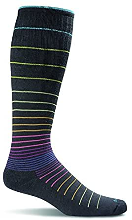Sockwell Women's Circulator Graduated Compression Socks, Small/Medium (4-7.5), Black Stripe
