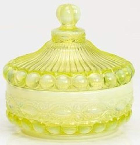 Mosser Glass Eye Winker Opal Candy Dish with Lid in Vaseline