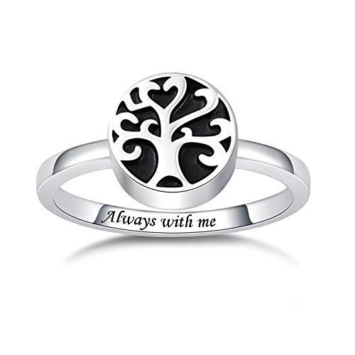 BEILIN Sterling Silver Angel Wings/Tree of Life Urn Ring Hold Loved Ones Ashes Always in My Heart Keepsake Memorial Jewelry Cremation Rings for Women (Tree of Life Urn Ring, 5)