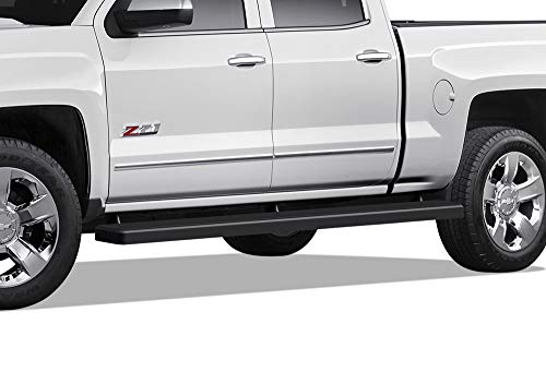 iBoard (Black Powder Coated 5 inches Wheet to Wheel) Running Boards | Nerf Bars For 2007-2018 Chevy Silverado / GMC Sierra Crew Cab 5.5ft Short Bed & 2019 2500 HD / 3500 HD (Excl. 07 Classic Models) Black Powder Coated Wheels