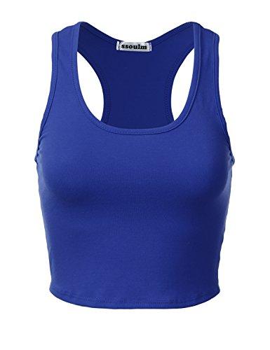 Racer Crop - SSOULM Women's Cotton Basic Sleeveless Racerback Crop Tank Top Cobalt S
