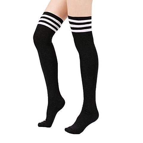 Zando Women's Cotton Athlete Triple Stripe Tights Over The Knee Thigh High Socks Black