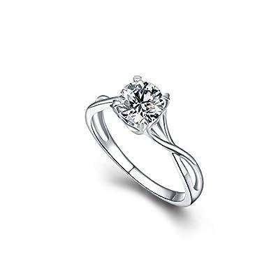859dd4c86 Jewelentine 925 Sterling Silver Swarovski Elements Crystal Ring For  Girls/Women