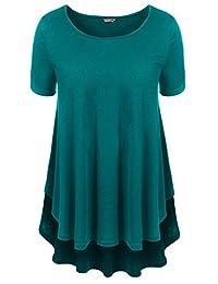 ACEVOG Women Solid Comfy Loose Short Sleeve T Shirts Lightweight Tunic Top Tee